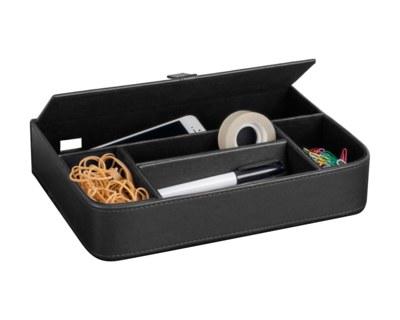 PAVO Premium Schreibtischorganizer 5 separate Fächer Kunstleder schwarz