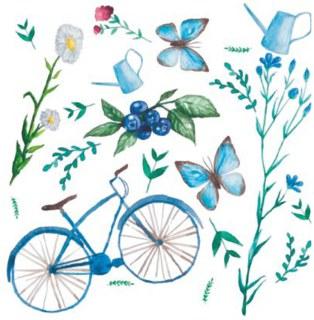 Servietten 3-lagig, 33 x 33 cm, Wildblumen-Fahrrad ...