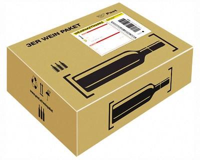 Post Prepaid Wein Paket für  3 Flaschen Wein Most, Säfte, Flaschenhöhe max 355mm
