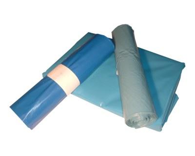 LDPE-Müllsäcke mit Zugband 120 L, 700 x 1100 mm, Typ 60 = 34 my, blau, 250 Stk.