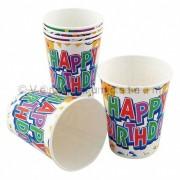 Party-Trinkbecher 200ml 0,2l bunt für Kindergeburtstag HAPPY BIRTHDAY, 10 Stk.