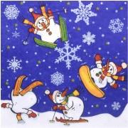 Weihnachtsservietten 3-lagig 33 x 33 cm Schneemänner, 20 Stk.