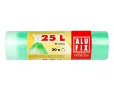 ALUFIX Müllsäcke mit Zugband 25L, HDPE 45x50 cm 12my, grün transparent, 30 Stk.