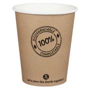 BIO Kartonbecher Kaffeebecher CoffeeToGo PLA bis 100°C, 200ml, Ø8cm, 25 Stk.