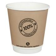 BIO Doppelwandbecher CoffeeToGo PLA bis 100°C    250ml, Ø9cm, 25 Stk.