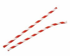 Papiertrinkhalme mit Knick gestreift rot-weiß, bis 20 cm Ø 6 mm, 100 Stk.