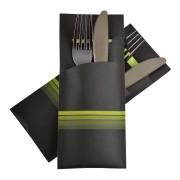 Pochetto Bestecktaschen 200x85mm schwarz limette Streifen Serviette  50 Stk.