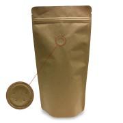 Standbodenbeutel Kraftpapier braun mit Aromaschutzventil 170x310x90mm, 500 Stk.