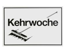 Hinweisschild Kehrwoche mit Abbildung Besen - 300x200mm