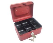 Geldkassette aus robustem Stahl mit herausnehmbaren Münzfächern 150 mm, rot