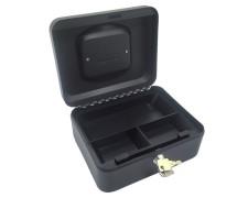Geldkassette aus robustem Stahl mit herausnehmbaren Münzfächern 200 mm, schwarz