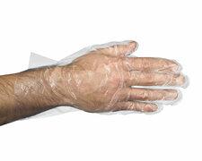 Einweghandschuhe aus PE transparent gehämmert in Spenderkarton Größe L, 500 Stk.