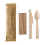 Holzbesteck Set Messer Gabel Serviette natur einzeln verpackt in Papierbeutel