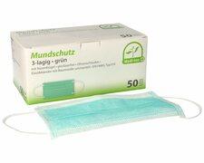 Mundschutz Typ IIR 3-lagig 9 cm x 17,5 cm Nasenbügel Elastikbändern grün 50 Stk.