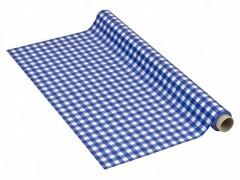 Tischdecke Tischtuch 110cm x 10m mit Alkoholschutzlackierung, LDPE, blau karo