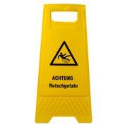 Warnschild Achtung Rutschgefahr gelb beidseitig bedruckt, ca. 61 cm hoch