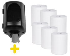 Handtuchspender schwarz Set für Papierrollen mit Innenabwicklung inkl. 6 Rollen