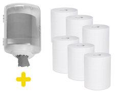 Handtuchspender-SET für Papierrollen mit Innenabwicklung + 6 Papierrollen, weiß
