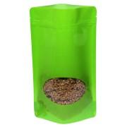 Standbodenbeutel PET hellgrün glänzend, mit Fenster, 180x290x90mm, 500 Stk.