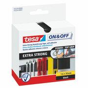 TESA On & Off Klettband Klettverschluss EXTRA STARK, 100cm x 50mm, schwarz