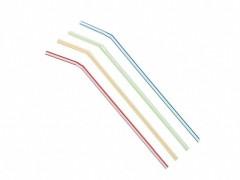 Trinkhalme Flexhalme weiß, farbig gestreift, 210 mm Ø 5 mm,  250 Stk.