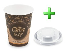 Kaffeebecher L Latte Macchiato To Go mit Trinkdeckel 350 ml 420 ml  100 Stk.
