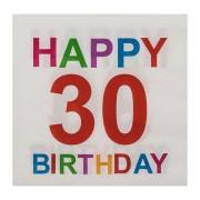 Motivservietten 3-lagig, 33 x 33 cm, 30 - Happy Birthday, bunt, 20 Stk.