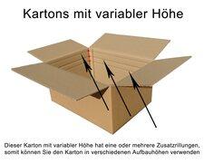 Faltkarton  500x450x(200)-250mm VARIABLE HÖHE, 2wellig