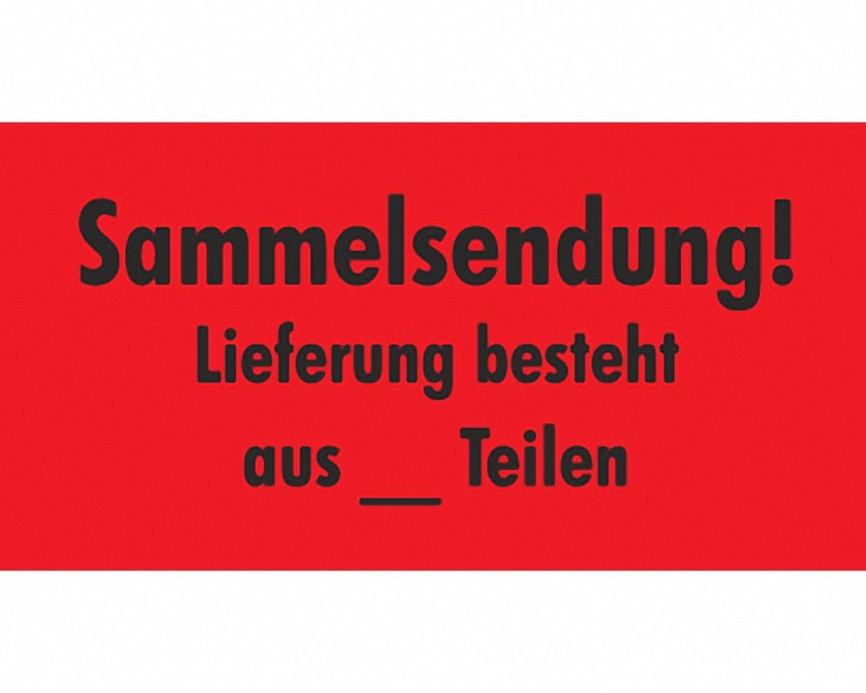 Hinweisetiketten rot SENDUNG LIEFERUNG BESTEHT aus __ TEILEN 145x76mm, 1000 Stk.