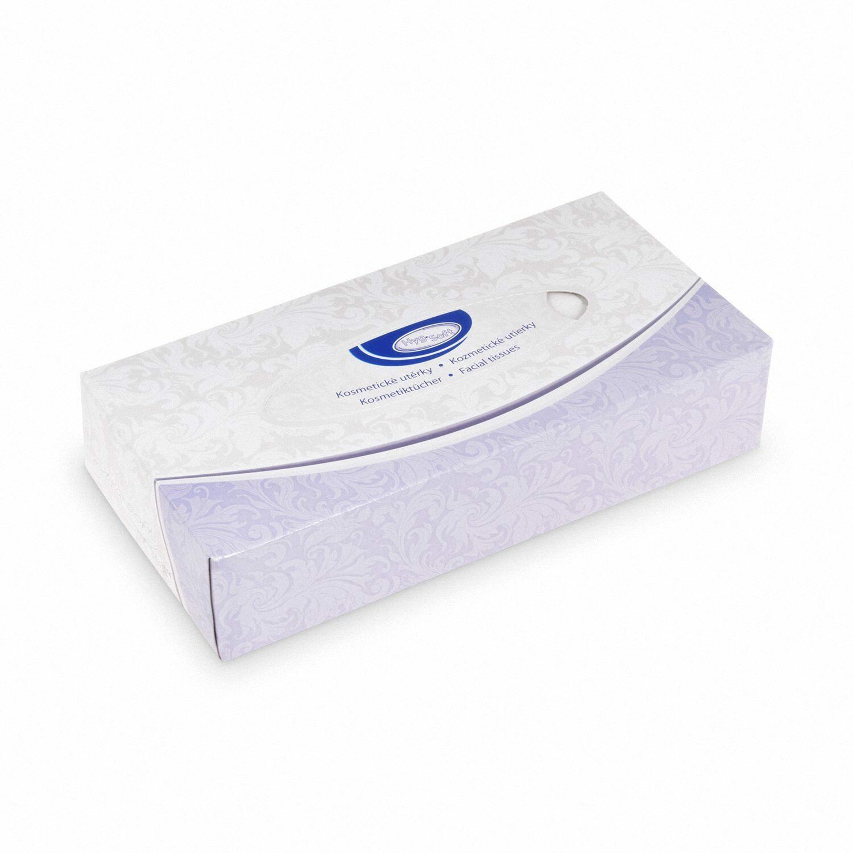 Kosmetiktücher 100% Zellstoff 2-lagig in Spenderbox weiß, 100 Stk.