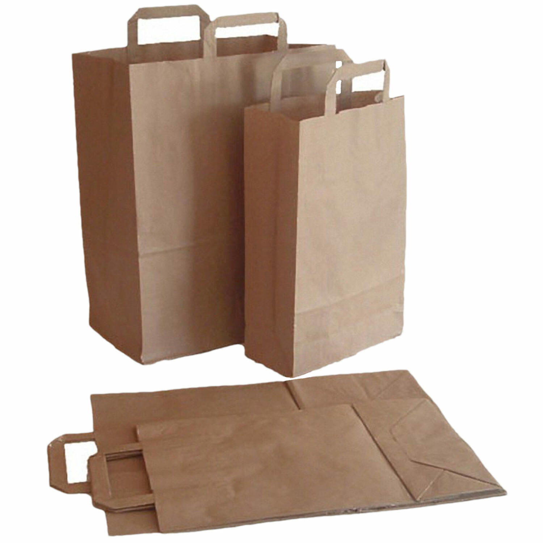 1-PACK Papiertragetaschen aus Kraftpapier, 260+120x350mm, braun 80 gr.