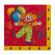 Motivservietten 3-lagig, 33 x 33 cm, rot, Clown, 20 Stk.