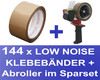 144 Stk. Packband Klebeband OPP-909NN 50mmx66m, Low Noise braun + Abroller